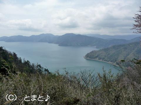 賤ヶ岳山頂へ向かう山道から余呉湖を望む