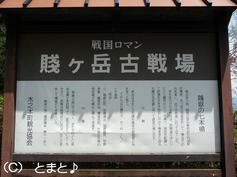 賤ヶ岳リフト駐車場の賤ヶ岳古戦場説明看板